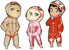 Attack on Titan ~~ AU wherein the Titan Trio are reincarnated into the modern world and dress this way for Halloween? :: Bertholdt, Annie and Reiner