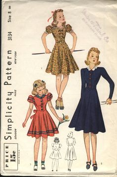 VINTAGE Simplicity Pattern 1930s 1940s Very by fadedrosevintage, $25.00