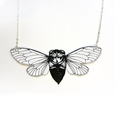 Cicada insect and silver chain necklace by horseflesh on Etsy, $30.00