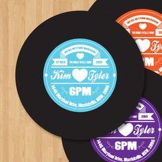 Vinyl Record Label Wedding Invitation DIY set (printable). $15.00, via Etsy.