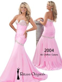 Light pink is a great pageant dress color choice when dressing yourself for a Teen entry level pageant. This chiffon Ritzee Originals strapless pageant gown 2004 features chunky rhinestone crystals in the bust, with a criss cross ruched bodice and a beaded drop waistline that will bring out your shape! The only thing missing from this dress is the crown!