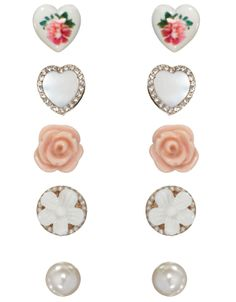 5 x Sweetheart Stud Pack | Pink | Accessorize