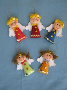"Felt Angels---these could be easily made into finger puppets by sewing an elastic ""finger holder"" on the back."