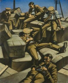 Dog Tired, 1916 by C. Nevinson (British (Bristol Museum and Art Gallery). World War One, First World, Ww1 Art, Tire Art, Oil On Canvas, Canvas Prints, Art Prints, Collages, Museum Art Gallery