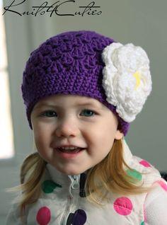 Baby girl hat Purple hat with flower for girl crochet beanie