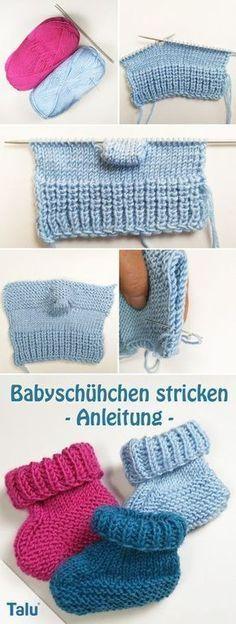 Kostenlose Anleitung - Babyschühchen stricken - Talu.de Knit Baby Booties, Baby Booties Knitting Pattern, Knitting Stiches, Baby Knitting Patterns, Crochet Patterns, Diy Bebe, Crochet Baby, Knitted Baby, Knit Crochet