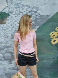 Pink polo: Ralph Lauren ( Similar ), Navy shorts: Ann Taylor , Pink driving shoes: Clarks ( Also love this ), Bow belt:. Navy Shorts Outfit, Polo Shirt Outfit Women's, Shorts Outfits Women, Polo Shirt Women, Preppy Outfits, Summer Outfits, Cute Outfits, Preppy Fashion, 80s Fashion