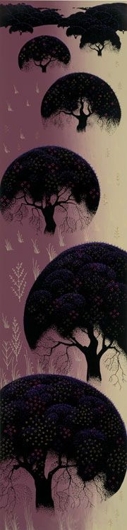 """© 2006 Eyvind Earle Publishing  Title:Santa Ynez Oaks 233"""" X 8""""               To Order  ----  Please Call    831-625-1738 or Email:    info@gallery21.com"""