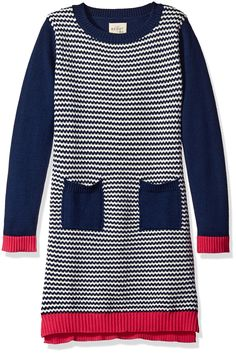 Scout + Ro Big Girls' Sweater Dress with Patch Pocket, Flag Blue, 8. Long-sleeve sweater dress featuring chevron-patterned body with solid patch pockets at waist. Scout + Ro by Amazon offers fun-forward, fuss-free kids' clothing in comfy fabric that are easily matched and look great wash after wash.