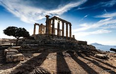 The Temple of Poseidon Greece. by BourasPanagiotis City Architecture, Monument Valley, Skyscraper, Temple, City Buildings, Urban Design, Abstract, Cities