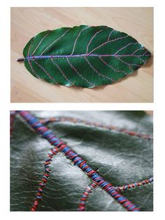 Veins, Embroidery thread on leaf, 2 hours and 53 minutes. (by Karin Yamasaki) - inspiration Thread Art, Embroidery Thread, Embroidery Patterns, Textiles, Textile Design, Textile Art, Leaf Art, Nature Crafts, Fabric Art