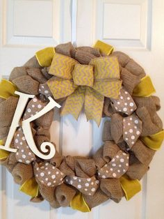 CHEVRON BURLAP WREATH with Initial, Summer Wreath, Spring Wreath, Wedding Gift, Easter Burlap Wreath , Front Door Wreath on Etsy, $60.00