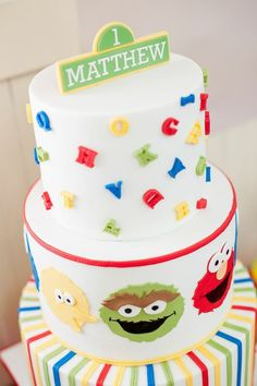 Sesame Street themed 1st birthday party via Kara's Party Ideas KarasPartyIdeas.com Invitation, cake, food, supplies, recipes, and MORE! #sesamestreet #sesamestreetparty (29)