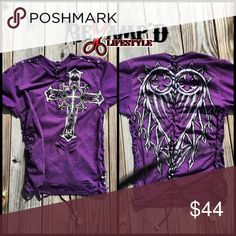 "Embellished upcycled purple REDEMPTION tshirt ☠✂️ReVamp'D Life CLothinG✂️☠ ••• 🛍 Ask for bundles to save $$ • always accepting offers! 🛍 ••  ☠️ Cut up and weaved purple ""REDEMPTION"" drawstring shirt. Back has drawstring that tightens. Has cuts and is embellished all over! Bright purple.   ☠️ Will fit a size medium (possibly sm/large too)  #diy #drawstring #redemption #affliction #buckle #embellished #rhinestones #studs #purple #cross #heart #fashion #oneofakind #handmade #madetoorder…"