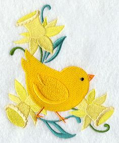 Chick and Daffodil Corner design (F9562) from www.Emblibrary.com
