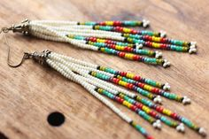 Nature's Spectrum // Fringe Seed Bead Earrings by bytherockandweed