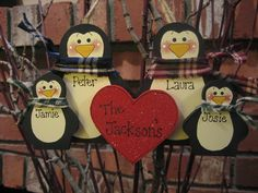 Personalized Penguin Family Ornament, Families of 2 to 6 members. $11.99, via Etsy.