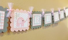 Elephant Happy Birthday Banner - Pink and Gray.
