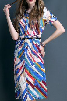 Colored Print Turn Down Collar Short Sleeve Dress