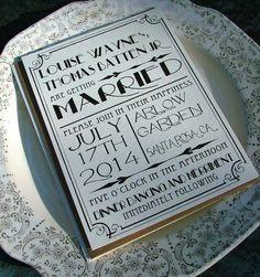 Invitaciones de boda: Gran Hollywood Art Deco por sweetinvitationco