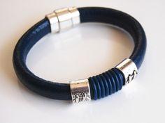Men's Navy Blue Licorice Greek Leather Bracelets - leather Bracelets- - Mens Bracelets -For Men-leather Bracelet- Unisex Bracelets Leather Braces, Leather Men, Bracelets For Men, Bangle Bracelets, Leather Accessories, Leather Craft, Greek, Navy Blue, Mens Fashion