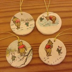 Winnie the Pooh Christmas ornaments recycled books by beckymeadows