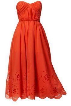 Orange strapless pleated empire waist long wedding guest dresses