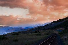 Last train out of Kaikoura • • • • • #landscape_lovers #landscapephotography #landscapelovers #landscape_captures #landscapes #trees #mountain #sunrise #scenery #skyporn #outdoors #tree #naturelover #traintracks #railroad #railroadtracks #cloudporn #ocean