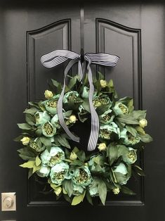 Faux Peony Wreaths for Spring, Peony Wreaths with Black and White Bow – Wreath For Front Door İdeas.