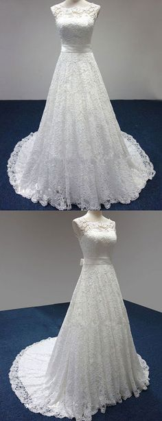 Elegant Scoop Lace Wedding Dress, classic bride dresses With Bow