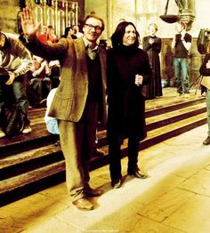 David Thewlis (Lupin) and Alan Rickman (Snape) on their last day of filming Harry Potter.