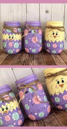 Hatching Easter Egg Mason Jars - Easter Chick in Egg Decorations - Easter Center. Hatching Easter Egg Mason Jars - Easter Chick in Egg Decorations - Easter Centerpiece, Easter Mantle Decor, Spring Chick. Pot Mason Diy, Mason Jar Gifts, Easter Projects, Easter Crafts For Kids, Hoppy Easter, Easter Chick, Easter Eggs, Spring Crafts, Holiday Crafts
