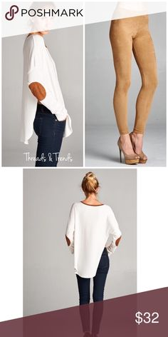 Ribbed Elbow Patch Top Ribbed Elbow Patch Top  •Loose fit  •round neck •long sleeve  •Faux Suede neckband & elbow patch's •Rounded hems with high side slits.  •Drop shoulder.  •Medium weight wide ribbed soft knit fabric •Beautifully drapes and stretches very well.  Available Sizes: S, M, L  Stylist Notes: great casual top to pair with denim or leggings. Camel leggings shown in pictures are sold separately. Bundle and Save. Threads & Trends Tops
