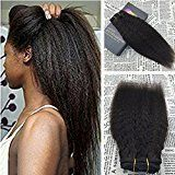 Moresoo 24 Inch Clip in Human Hair Extensions Brazilian African American Kinkys Straight Clip in Hair Extensions Dark Brown Natural Clip ins For Women 120g/7pieces