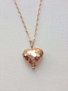 Rose gold vermeil hammered heart necklace by WendyShrayDesigns, $38.00