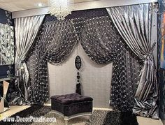 luxury classic curtains and drapes 2017 , black and silver curtains designs New catalogue of classic luxury curtains and drapes 2017 with the best classic curtains designs and drapery designs 2017 for all rooms living room, kitchen, dining room Black And Silver Curtains, Burgundy Curtains, Bright Curtains, Black Curtains, Curtains With Blinds, Latest Curtain Designs, Drapery Designs, Beach Theme Shower Curtain, Shower Curtains