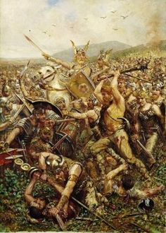 Germanic warriors storm the field to fight the Romans in the Battle of Teutoberg Forest. 'Varusschlacht', by Otto Albert Koch 1909 Greatest Warriors In History, Great Warriors, Ancient Rome, Ancient History, History Of Germany, Les Runes, Celtic Warriors, Roman Warriors, Roman Legion