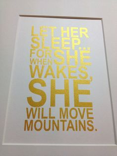 Baby girl nursery gold quote print Let her sleep by metallicprints