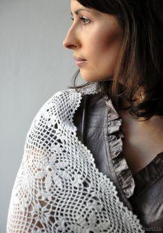 White crochet lace shawl / wedding bridal lace stole / by Nastiin, $229