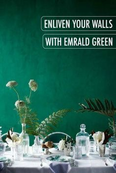 Make others green with envy by enlivening your walls with a coat of emerald green Belfast paint. The jewel-toned accent is not only striking, but also wonderfully sophisticated when paired with vintage-inspired furniture. Check out BEHR paint to find your Green Dining Room, Living Room Green, Bedroom Green, Living Room Paint, Jewel Tone Bedroom, Master Bedroom, Bedroom Decor, Emerald Green Bedrooms, Emerald Green Decor