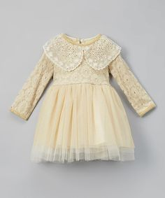 Loving this Gold Lace & Ruffle Dress - Infant, Toddler & Girls on #zulily! #zulilyfinds