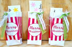 Printable: Popcorn bags (to go with candy cane popcorn bark or any other popcorn treat)