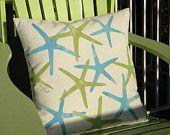 "Outdoor pillow STARFISH blue and green finger sea star 20""x20"" (50cm) coastal beach cottage Crabby Chris shelling seashore seashell"