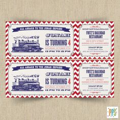 Printable Customizable Vintage Train Ticket Party Invitation... Jimmie would love this @sherireynolds