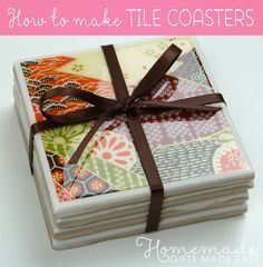 How to make coasters from ceramic tiles, with a glossy waterproof finish that won't get stained by tea or coffee