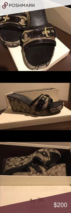 COACH Jewel Signature C Buckle Slide Wedge Sandals COACH   Jewel Signature C Buckle Slide Wedge Sandals Women's    Color:Brown  Size: 9  New in Box ***Retails for $325 Coach Shoes Sandals