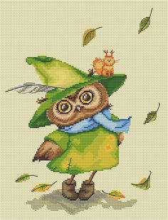 Owlet Witch of Emerald Forest - Halloween Owl by Inga Paltser