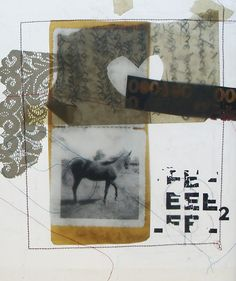 wax paper collage, mixed media, horse, lace