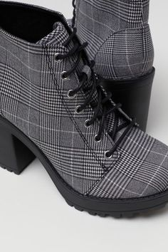 Ankle boots with lacing at front. Front platform height 1 in., heel height 4 in. Thigh High Boots, Black Ankle Boots, Heeled Boots, Cute Ankle Boots, Style Grunge, Soft Grunge, Timberland Boots, Cute Shoes, Me Too Shoes