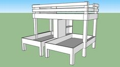 Large preview of 3D Model of triple bunk bed